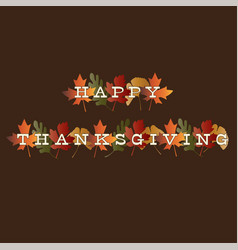 Thanksgiving typography on gradient leaves vector