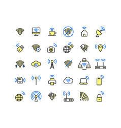 Wireless network filled outline icon set vector