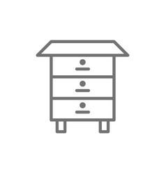 Wood bee hive honey beehive line icon vector