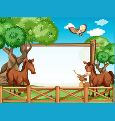 Wooden frame with horses and deer vector