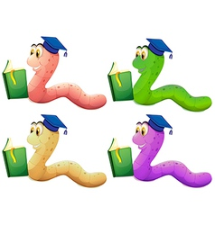 Worms reading vector image