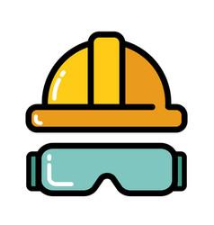 Yellow helmet glasses icon vector