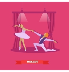 Ballet dancers dance on a stage Ballerina and vector image