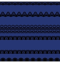 Black and blue lace seamless stripes pattern vector image