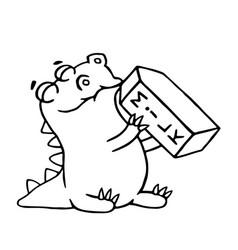 cartoon dinosaur is drinking milk isolated vector image vector image
