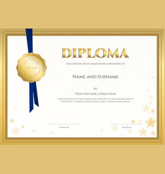elegant diploma certificate template vector image vector image