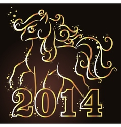 Happy New Year background with gold horse vector image