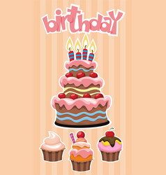 colorful birthday desserts template vector image