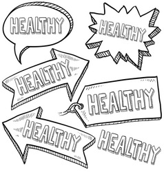 doodle label tag healthy vector image vector image