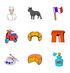 French republic icons set cartoon style vector