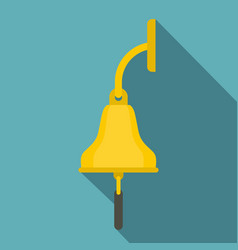 Golden ship bell icon flat style vector