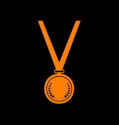 medal simple sign orange icon on black background vector image