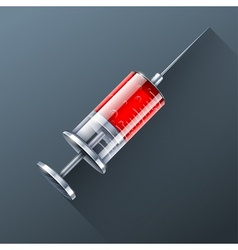 medical syringe with red blood vector image vector image