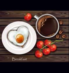 realistic breakfast egg and coffee wooden vector image