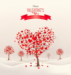 Valentine background with heart shaped trees vector