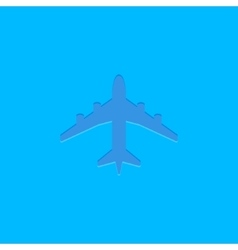 Blue plane icon on blue vector image vector image