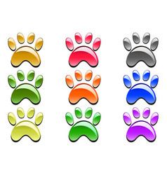 color paw prints icon vector image