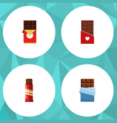 Flat icon cacao set of sweet chocolate chocolate vector