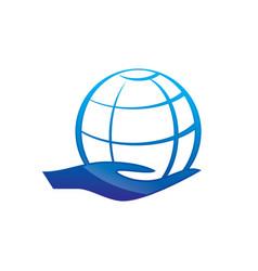 globe logo with hands logo design vector image