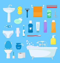 hygiene personal care toiletries set of vector image