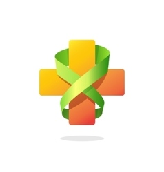 Medical cross ribbon logo isolated on white vector image vector image