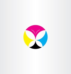 printing cmyk butterfly icon logo vector image