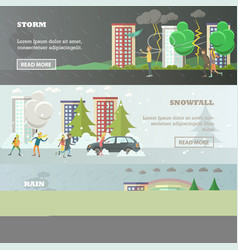 set of weather concept horizontal banners vector image vector image
