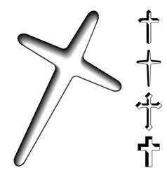 black christian crosses vector image vector image