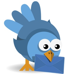 blue bird with a blue envelope vector image vector image