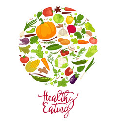 healthy eating agitation poster with fresh organic vector image