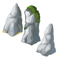Set of grey rocks on a white background vector image