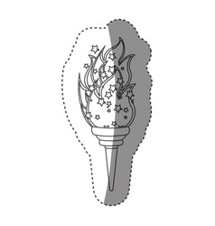 Sticker grayscale contour with olympic torch flame vector