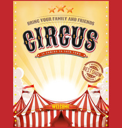 vintage summer circus poster with big top vector image vector image