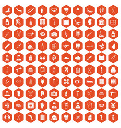 100 medical care icons hexagon orange vector