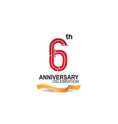 6 anniversary celebration logotype with red color vector
