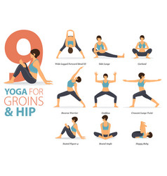 9 yoga poses for workout in groins and hip vector