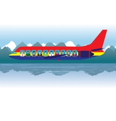 Aircraft with passengers over the lake vector image