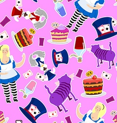 Alice in Wonderland pattern Fat woman and Cheshire vector image