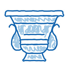 Ancient greek feast bowl doodle icon hand drawn vector