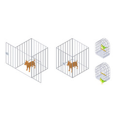 Animals in cages isometric dog bird inside and vector