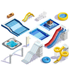 Aqua park elements set vector