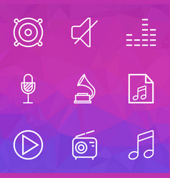 Audio outlines set collection of soundless vector