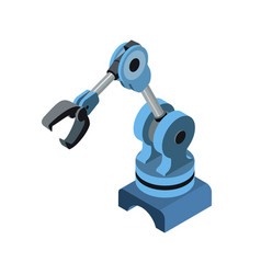 Automated robotic arm on blue vector
