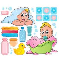 baby bath theme collection 1 vector image