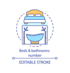 Beds and bathrooms number concept icon vector