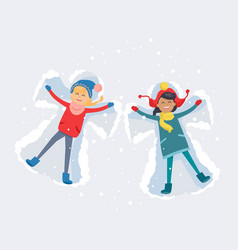 Best friends girls make snow angels vector