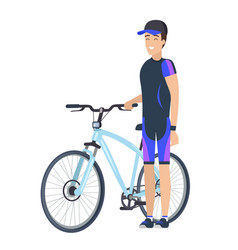 Biking concept icon of male in cap standing bike vector
