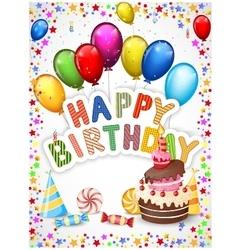 Birthday background with birthday cake vector