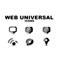 Black glossy web universal icon set vector image