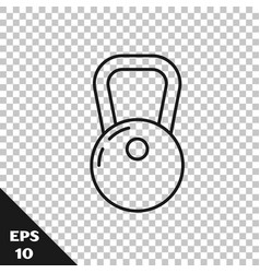 Black line kettlebell icon isolated on transparent vector